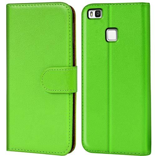 Verco P9 Lite Hülle, Handyhülle für Huawei P9 Lite Tasche PU Leder Flip Hülle Brieftasche - Grün