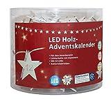 LED Adventskalender als Lichterkette mit Klammern aus Holz, Sterne mit Zahlen 1 bis 24, mit 6 Stunden Timer Funktion, batteriebetrieben, für Weihnachten, in Der Adventszeit, circa' 2, 8 M