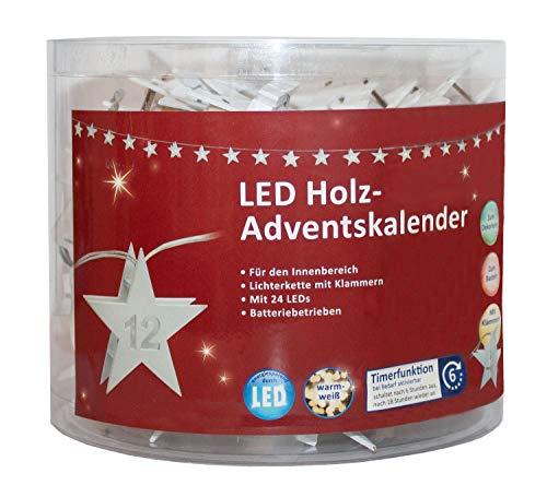 """LED Adventskalender als Lichterkette mit Klammern aus Holz, Sterne mit Zahlen 1 bis 24, mit 6 Stunden Timer Funktion, batteriebetrieben, für Weihnachten, in Der Adventszeit, circa\"""" 2, 8 M"""
