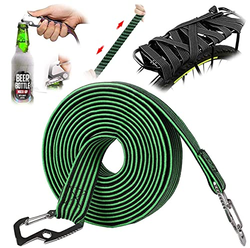 Grneric Long Bungee Cords with Hooks,Bungee Cord,Set Color Flat Stripe Nylon Tension Elastic Band,for Bike Rack/Strollers/Bike/Trash Cans/Truck Tarps/Boats/Trucks/Luggage/Hand Carts