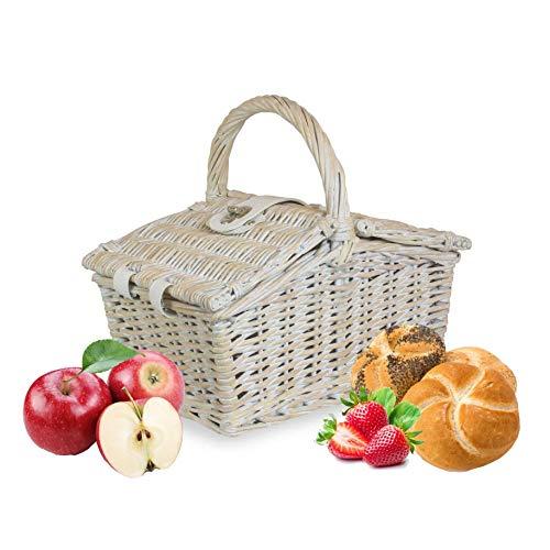 Wrenbury - Cestino da picnic tradizionale per 2 persone, 27,9 cm, in vimini bianco