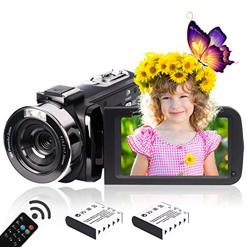 Heegomn 2.7K HD Digital Camcorder Per Adolescenti/Studenti/Bambini,268X1520P Videocamera Beginner Per YouTube Vlog