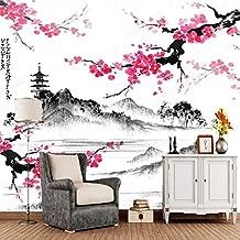 YSDECOR Papel Pintado Papel De Pared Personalizado 3D Paisaje Japonés Con Ramas De Sakura Mural Retro Para Sala De Estar Sofá De Fondo Papel De Pared