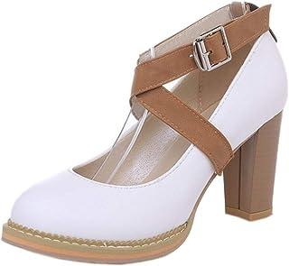 RAZAMAZA Women Fashion Block Heel Court Shoes Strap