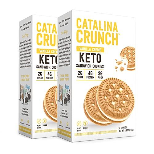 Catalina Crunch Vanilla Crème Keto Sandwich Cookies (2 Pack) 6.8oz Boxes   Keto Snacks   Low Carb, Low Sugar   Vegan Cookies, Plant Based Protein Cookies   Keto Friendly Foods