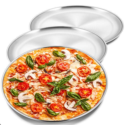 12 Inch Pizza Pan Set, 3 Pcs P&P CHEF Stainless Steel Round Baking Pizza Pans Pizza Tray for Pizza, Pie, Cake, Cookie, Non-toxic & Healthy, Heavy Duty & Durable, Oven & Dishwasher Safe