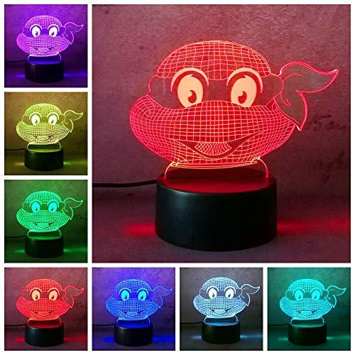 Figur Teenage Mutant Ninija Turtles moderne Atmosphäre 3D Tischlampe Kinder Spielzeug Geschenk Visuelle Nachtlicht LED Schlafzimmer Hochzeit Dekoration Geschenk Lampen