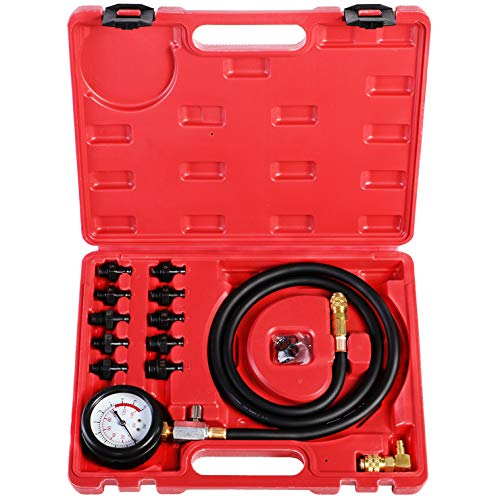 YSTOOL Oil Pressure Tester Kit Professional Oil Pressure Gauge Tool for Engine Diagnostic Test with Hose Adapters and Carry Case for Cars ATVs Trucks Use 0-140psi