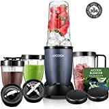 AICOOK Smoothie Blender Personal Blender for Shakes and Smoothies Nut Blender Food Processor Stainless Steel Blender with 4 Cups and Recipe Included 780W