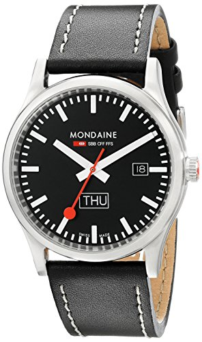 Mondaine Outdoor Wrist Watch for Men (A667.30308.19SBB) - Swiss Made, Day and Date Indication, Black Leather Strap, Silver Stainless Steel Case and Black Dial