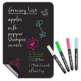 Magnetic Black Dry Erase Board for Fridge: with Bright Neon Chalk Markers - 12x8' - 4 Liquid Blackboard Markers with Magnet - Small Whiteboard Chalkboard for White Refrigerator