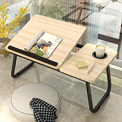 Folding Laptop Desk for Bed Portable Computer Tray for Sofa Table for Writing 4 Angles Adjustable Laptop Table with Cup Holder