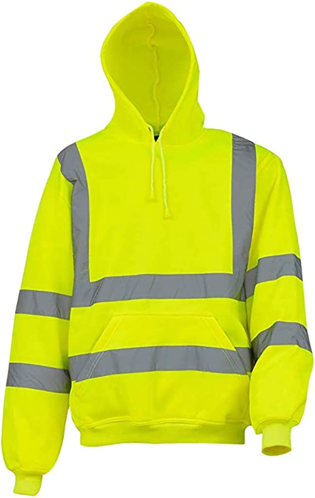 XXBR Road Work Hoodies for Mens, High Visibility Bright Pullover Long Sleeve Hooded Sweatshirts with Reflective Strip
