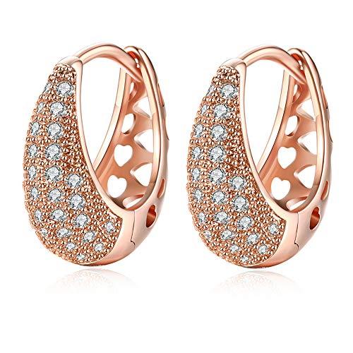 Pendientes de aro de oro rosa para mujer - Pendientes de circonita cúbica Huggie de moda Pendientes de aro pequeños Regalo para hombres Mujeres Chica ¡Regalo de joyería de 18 mm!