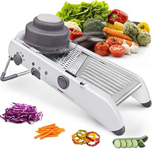 Affettatrice professionale per cetrioli, tagliaverdure regolabile in acciaio inox, grattugia per verdure, frutta e formaggio, fette (bianco)