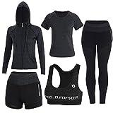 BOTRE 5 Piezas Conjuntos Deportivos para Mujer Chándales Ropa de Correr Yoga Fitness Tenis Suave Transpirable Cómodo (Negro, M)