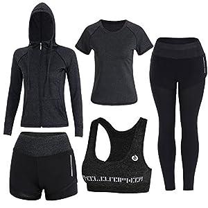 BOTRE 5 Piezas Conjuntos Deportivos para Mujer Chándales Ropa de Correr Yoga Fitness Tenis Suave Transpirable Cómodo (Negro, L)