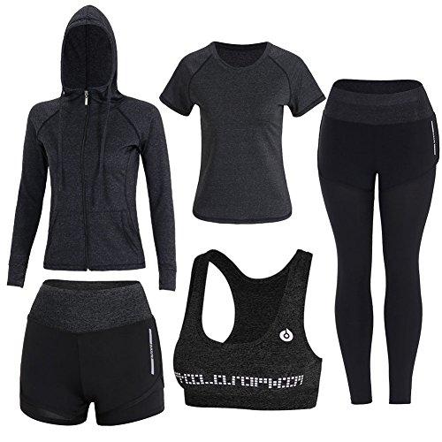BOTRE 5 Pezzi Tute da Ginnastica Donna Tute Sportive Yoga Fitness Palestra Running Jogging Completi Sportivi Abbigliamento (Nero, S)