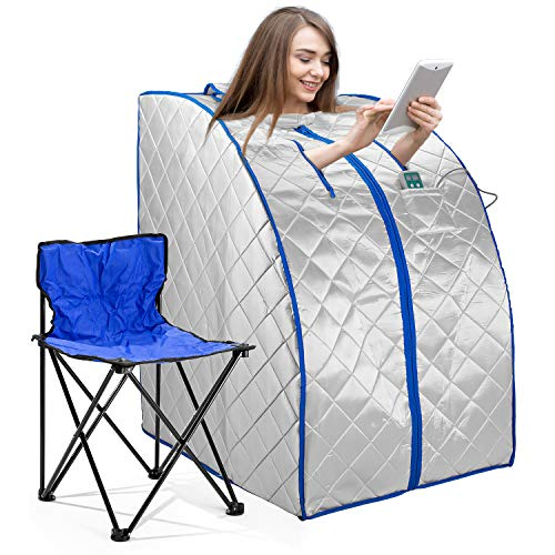 Infrared FAR IR Negative Ion Portable Indoor Personal Spa Sauna by Durherm with Air Ionizer, Heating Foot Pad and Chair, 30 Minutes Timer, Large, Silver