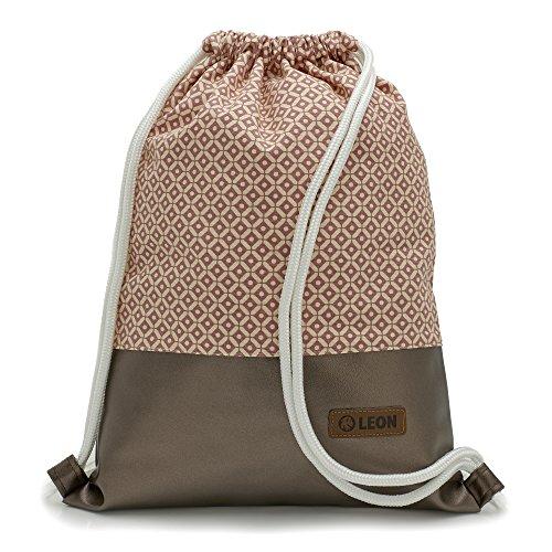 LEON by-Bers By-Bers LEON Tasche Turnbeutel Rucksack Sportbeutel Gym Bag Gymsack Hipster Fashion, Kupfer_karorosa, flach 34cmx45cm +-1cm