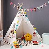 Belleashy Tende Giocattolo Kids Play Tent Coperta Indiano Playhouse Toy Teepee Giovani Bambino Interni ed Esterni Giochi Dentro Fuori (Color : White2, Size : 120x120x145cm)