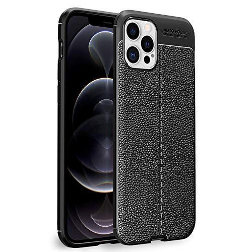 NALIA Design Case Compatible con iPhone 12 Pro MAX Funda, Mirada de Cuero Delgado Silicona Cubierta Protectora, Slim Cover Teléfono Móvil Protección Trasera Cobertura Shock-Absorción Estuche - Negro