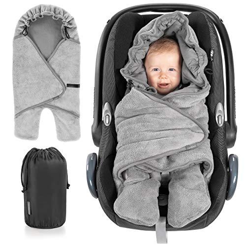 Zamboo Baby Einschlagdecke mit Füßen - Frühling/Sommer - leichte Decke für Babyschalen/Autositze (passend für Maxi-Cosi, Cybex, Römer) und Kinderwagen, mit Kapuze und Tasche - Grau