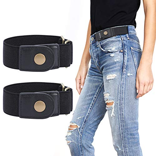 WERFORU 2 Pack No Buckle Elastic Belt for Women Men 2 Loop Stretch Buckle-Free Belt for Jeans Pants (black, Fits 2 loop distance : 7'-14')