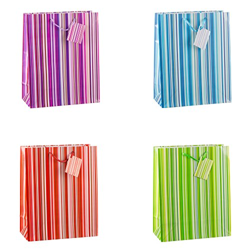 TSI 85315 Geschenkbeutel Colorful Lines, 12er Packung, Größe: Groß (32 x 26 x 13,5 cm)