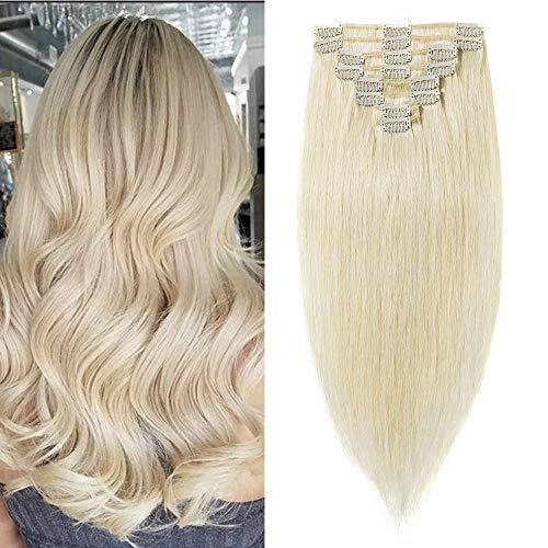 Clip In Extensions Echthaar Remy Haarverlängerung 100% Echthaar für komplette Glatt 60cm-120g (#60 Platinum Blonde)
