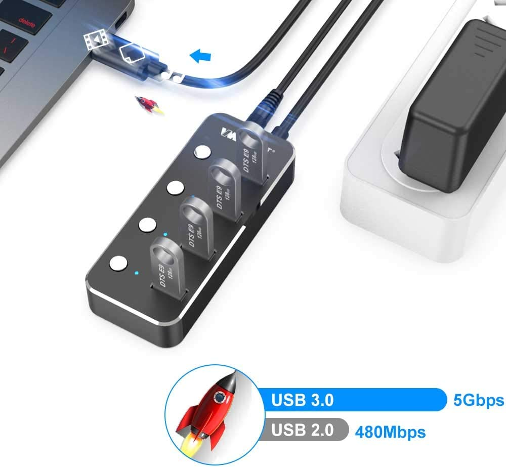 VEMONT Powered USB hub,Aluminum 4-Port USB 3.0 hub with 5V/2A Power Adapter and Individual On/Off Switches ,USB Charging hub 4ft/1.2m Long Cable Extension for Laptop PC Computer and More
