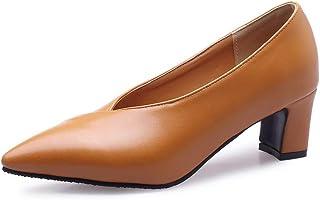 BalaMasa Womens APL11821 Pu Block Heels