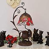 ステンドグラス ミニランプ 猫の水飲み レリーフ テーブルランプ アンティーク
