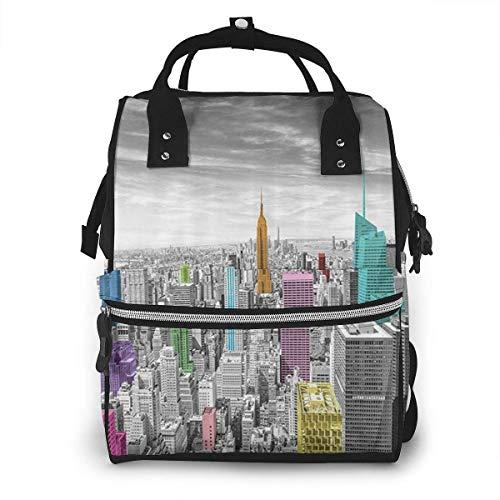 nbvncvbnbv Diaper Bag Backpack NYC New York City Skyline Printed Pattern Bag - Multifunction Travel Back Pack Large Baby Bag Casual Daypacks