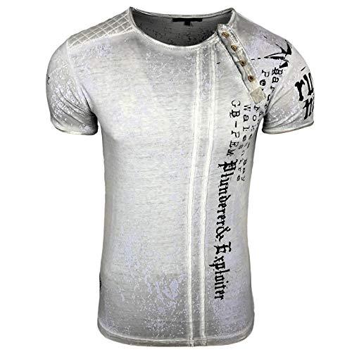 Rusty Neal Herren T-Shirt Slim Fit mit Vintage Waschung Washed Stars A1-RN-15191, Größe:M, Farbe:Grau