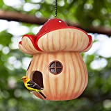 Claratut Mushroom Bird House Outdoors, Hanging Birdhouse Bird Nest Decor for Outdoor Garden Patio, 6 'L x 6' W x 7 'H