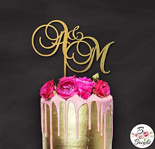 Gepersonaliseerde paar initialen bruiloft hout taart topper op maat ontwerp zilver rose goud verjaardag geschenk partij decoratie zoete tafel accent