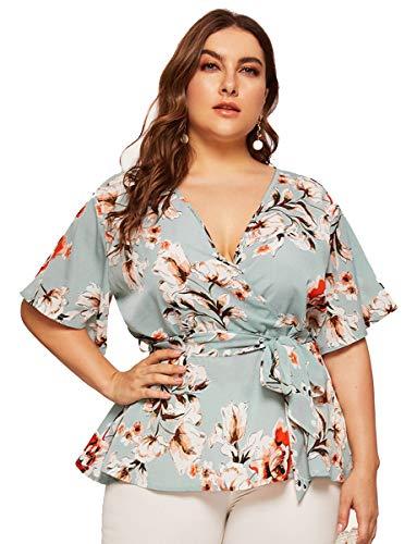 Romwe Women's Plus Size Floral Print Short Sleeve Belt Tie Peplum Wrap Blouse Top Shirts Blue 2XL
