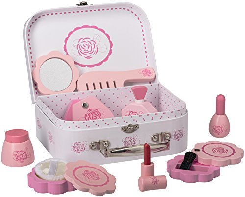 Dragon Drew Wooden Toy Beauty Set – 10 Piece Kit - Girls Salon Set with Makeup, Brush, Mirror and Cosmetics Case - 100% Natural Wood, Nontoxic Paint, Smooth Edges