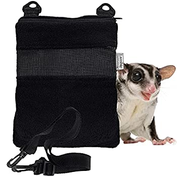 LAMBIE JAMMIE Black Bonding Pouch for Sugar Gliders Hedgehogs Bunnies Or Other Small Pets Great for Bonding and Sleeping to Better Your Relationship with Your Pet  Black   Medium 8 X6