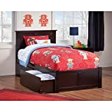Atlantic Furniture Madison Twin Platform Bed with Flat Panel Foot Board and 2 Urban Bed Drawers in Espresso