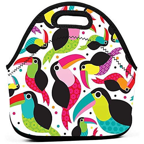 Lunchtaschen,Wiederverwendbare Picknicktaschen,Tragbare Tragetasche,Tucan Birds Bunte Tragbare Bento Box,Picknicktasche,Travel Office Outdoor Handtasche