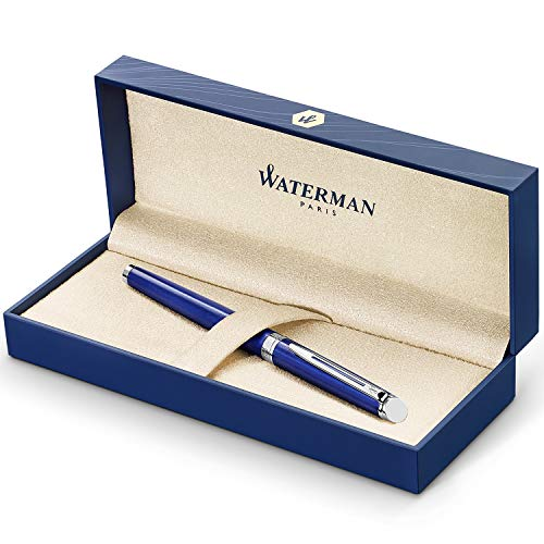 Waterman Hémishpère Penna Roller, Corpo Laccato Colore Blu Brillante con Finiture Cromate, Punta Sottile, Inchiostro Blu, Confezione Regalo