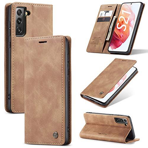 KONEE Coque Compatible avec Samsung Galaxy S21, Premium PU Portefeuille Étui Housse en Cuir [Carte Fentes] Antichoc Étui à Rabat Pochette pour Samsung Galaxy S21 5G - Marron