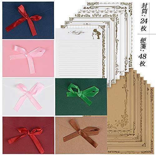 レターセット 封筒24枚 便箋48枚 リボン付き かわいい シンプル メッセージカード 封筒付 メッセージを大切な人へ (封筒6色24枚 便箋48枚) (72)