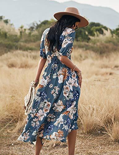 Vestido Mujer Bohemio Largo Verano Playa Fiesta Floral Manga Larga Cuello en V Maxi Vestidos Cóctel Falda Larga Vestido Swing (Bluefloral, x_l)
