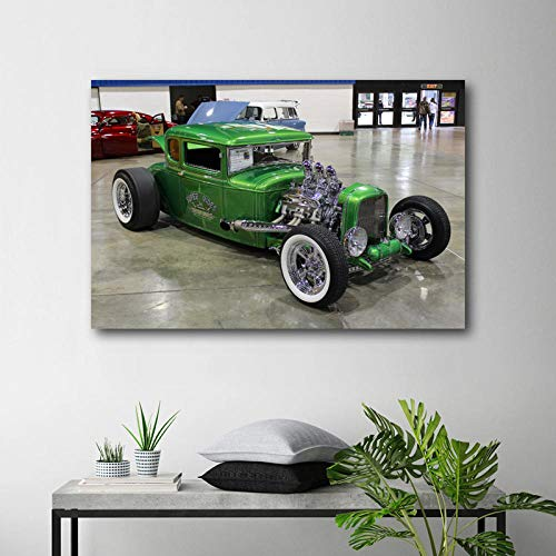 VVSUN Pintura Moderna 1930 Ford Modelo A Coupe Hot Rod School Retro Car Posters Lienzo Arte de la Pared Impresiones para la decoración de la habitación del hogar 60X90cm 24x36inch Sin Marco