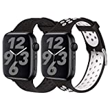 SKYLET Sport Bands Compatible with Apple watch Series 6 44mm 42mm 38mm 40mm, Soft Silicone Breathable Wristbands Replacement Compatible with Apple Watch Series 5 4 3 2 1 for Women Men(Black,White)