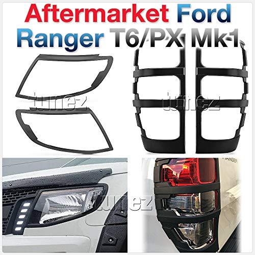TUNEZ® Rücklicht Abdeckung für Ranger PX Wildtrak T6 MK1 2011-2015, Mattschwarz Scheinwerferabdeckung Bezüge