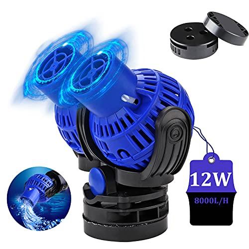 EXLECO JVP-231 Pompa di Flusso per acquari, 8000L/H 12 Watt Wavemaker Pompa di Movimento Pompa ad Onda Girevole per Acquari d'Acqua Dolce e Salata 100~150cm